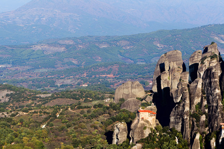 The Holy Monastery of St. Nicholas Anapausas, built in the 16th century, has a small church, decorated by the noted Cretan painter Theophanis Strelitzas, in 1527. Meteora, Greece