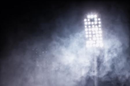 luces del estadio y el humo Foto de archivo