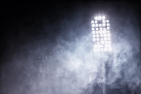 baseball: stadium lights and smoke