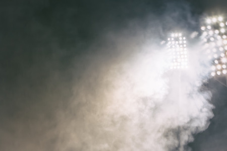 baseball stadium: stadium lights and smoke