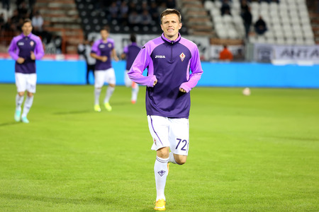prior: THESSALONIKI, GREECE  NOV 12, 2014 : Josip Ilicic of Fiorentina prior to the UEFA Europa League match Paok vs Fiorentina.