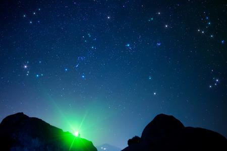 starry sky seen from Meteora, Greece Stock Photo