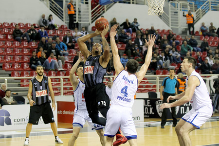 professional basketball league: THESSALONIKI, GREECE - NOV 12, 2014: Julian Vaughn of Paok in action during the Eurocup game Paok vs Buducnost
