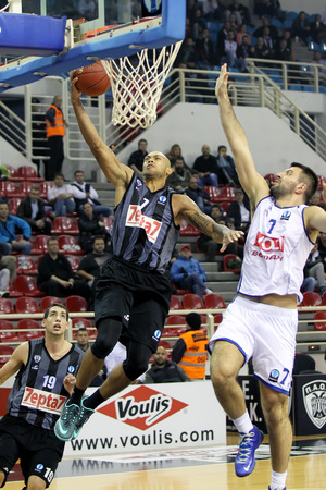 professional basketball league: THESSALONIKI, GREECE - NOV 12, 2014: Marc Carter of Paok in action during the Eurocup game Paok vs Buducnost
