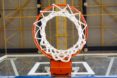 professional basketball league: THESSALONIKI, GREECE - NOV 12, 2014: Basketball net as seen from low angle prior to the Eurocup game Paok vs Buducnost