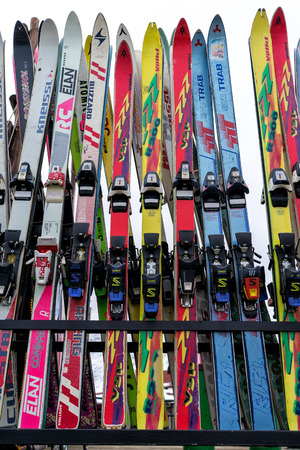 u s: FALAKRO; GREECE - FEBRUARY 4; 2013: Ski equipment at Falakro ski center; in Greece. Visitors can rent or buy the equipment. Editorial