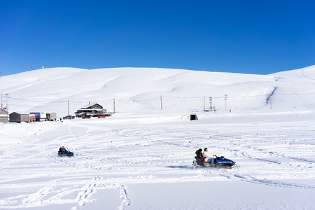 dramas: FALAKRO, GREECE - FEBRUARY 11, 2013: Visitors enjoy the snow skiing on the mountain of Falakro, Greece. The ski resort of Falakro Mountain is located in the area of Dramas. Editorial