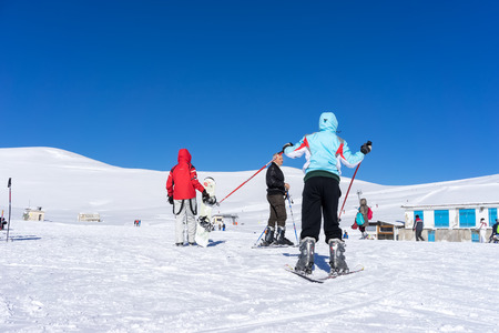 FALAKRO, GREECE - FEBRUARY 11, 2013: Visitors enjoy the snow skiing on the mountain of Falakro, Greece. The ski resort of Falakro Mountain is located in the area of Dramas. Editorial