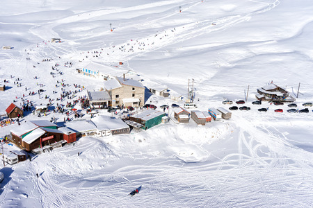 FALAKRO, GREECE - FEBRUARY 11, 2013: Aerial view of Falakro ski center, Greece. The ski resort of Falakro Mountain is located in the area of Dramas, in Greece.
