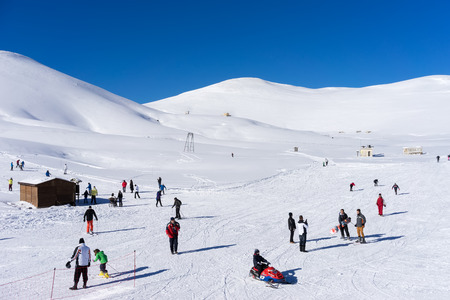 visitors area: FALAKRO, GREECE - FEBRUARY 11, 2013: Visitors enjoy the snow skiing on the mountain of Falakro, Greece. The ski resort of Falakro Mountain is located in the area of Dramas. Editorial