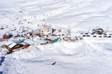 dramas: FALAKRO, GREECE - FEBRUARY 11, 2013: Aerial view of Falakro ski center, Greece. The ski resort of Falakro Mountain is located in the area of Dramas, in Greece.