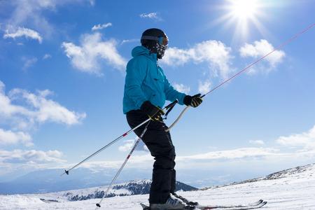 ticketing: KAIMAKTSALAN, GREECE - FEBRUARY 13, 2014: Skiers enjoy the snow at Kaimaktsalan ski center, in Greece. Recently at the ski center every lift has its automatic ticketing system.