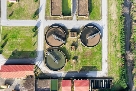 sewage treatment plant: aerial view of Giannitsa city sewage treatment plant Editorial