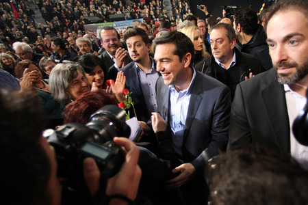 coalition: Thessaloniki, Greece JJanuary 21, 2015 - Alexis Tsipras leader of the Coalition of the Radical Left (SYRIZA) speaks in Palai de sport, Thessaloniki, Greece few days before the National elections 2015