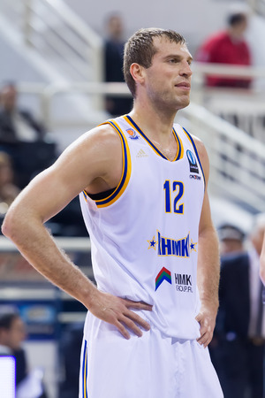 professional basketball league: THESSALONIKI, GREECE - JAN 21, 2015: Sergey Monia of Khimki in action during the Eurocup game Paok vs Khimki in Paok Sports Arena. Editorial