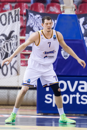 professional basketball league: THESSALONIKI, GREECE - JAN 21, 2015: Ruslan Pateev of Khimki in action during the Eurocup game Paok vs Khimki in Paok Sports Arena. Editorial