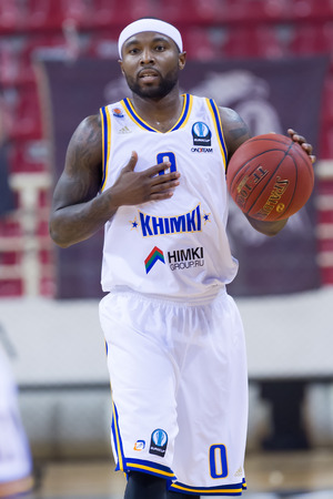 professional basketball league: THESSALONIKI, GREECE - JAN 21, 2015: Tyrese Rice of Khimki in action during the Eurocup game Paok vs Khimki in Paok Sports Arena. Editorial