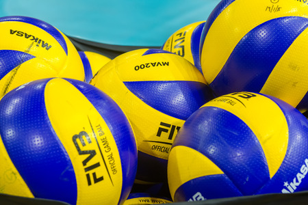 hellenic: THESSALONIKI, GREECE - FEBRUARY 5, 2015 : Volleyball balls stacked during the Hellenic Volleyball League game Paok vs Aris at PAOK Sports Arena. Editorial