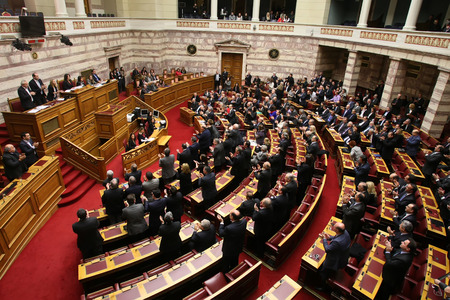 international crisis: ATHENS, GREECE - FEBRUARY 6,2015: At the Greek parliament during a session of a Vote for the President of the Parliament