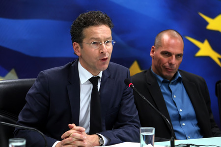 ATHENS, GREECE - JANUARY  31, 2015:Dutch Finance Minister and Eurogroup President Jeroen Dijsselbloem (L) and Greeces Finance Minister Yanis Varoufakis (R) during a joint press conference in Athens.