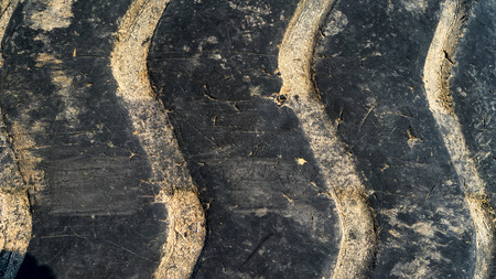 disposed: Close up of tire tread