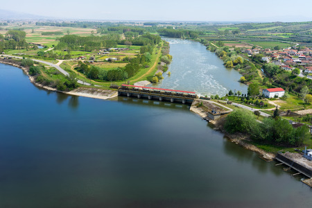 kerkini: Aerial view of the artificial lake Kerkini and river Strymon with dam at the north Greece Stock Photo