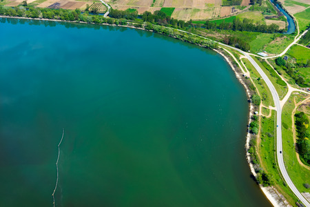 kerkini: Aerial view of the artificial lake Kerkini at the north Greece Stock Photo