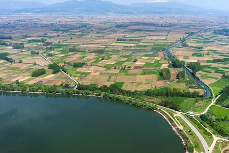 kerkini: Aerial view of the artificial lake Kerkini at the north Greece Stock Photo