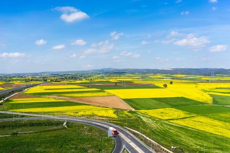 Luftaufnahme der Straße, die durch eine ländliche Landschaft mit blühenden Raps in Nordgriechenland