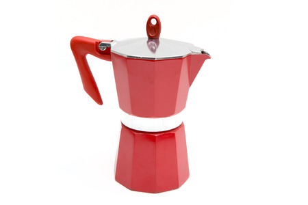 Italian coffee maker isolated on white background. photo