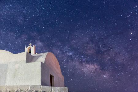 starlit sky: The Milky Way from Santorini island in Greece. Image taken with slow shutter speed