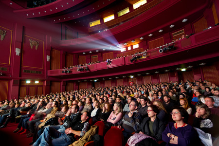 at the theater: THESSALONIKI - GREECE, OCTOBER 31, 2014: People during opening ceremony of 55th Thessaloniki International Film Festival at Olympion Cinema