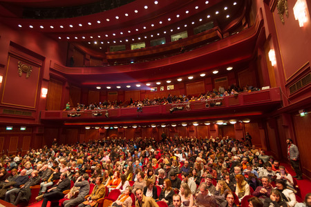 THESSALONIKI - GREECE, OCTOBER 31, 2014: People during opening ceremony of 55th Thessaloniki International Film Festival at Olympion Cinema
