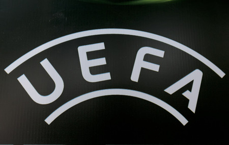 football european championship: KATERINI, GREECE, JUNE 9,2015: The Uefa banner during the Under19 Championship draw. Editorial