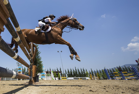 dapple grey: THESSALONIKI, GREECE, JUNE 14, 2015: Unknown rider on a horse during competition matches riding round obstacles Editorial