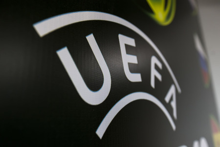 european championship: KATERINI, GREECE, JUNE 9,2015: The Uefa banner during the Under19 Championship draw. Editorial