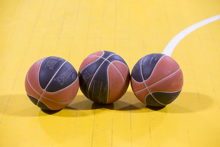 professional basketball league: THESSALONIKI, GREECE, JUN 17, 2015: Close-up of a baskeball on the ground during the Greek Basket League game Aris vs Paok
