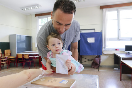 parliamentary: THESSALONIKI, GREECE, JULY, 5 2015: Greeks vote in bailout referendum