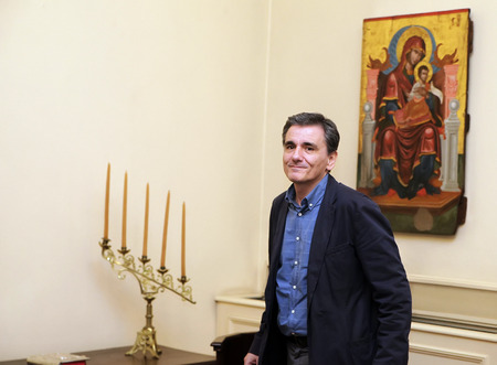 minister: ATHENS, GREECE - JULY 6, 2015: Swearing in of new Greek Finance Minister Euclid Tsakalotos