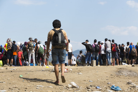 Idomeni, Greece - August 19 , 2015: Hundreds of immigrants are in a wait at the border between Greece and FYROM waiting for the right time to continue their journey from unguarded passages