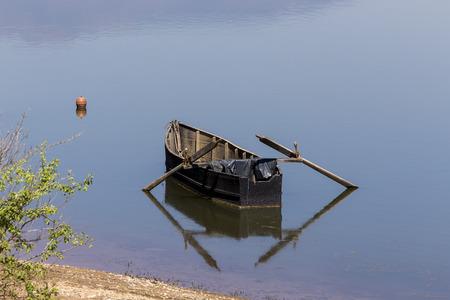 no rush: Boat at Kerkini lake in Serres, in Greece Stock Photo