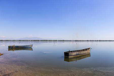 kerkini: Boat at Kerkini lake in Serres, in Greece Stock Photo