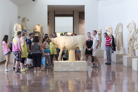 Olympia, Greece- August 9, 2015: Ancient ruins of the Philippeion at Olympia, Greece. The Archaeological Museum of Olympia, the most important of Greece. Editorial