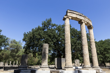 ruins is ancient: Remains at ancient Olympia archaeological site in Greece