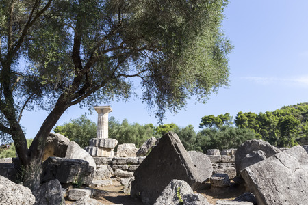 lintels: Ancient ruins of the temple Zeus, Olympia archeological site Peloponnese Greece Editorial