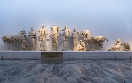 East pediment of the temple of Zeus at Olympia: Preparing the chariot race of Pelops and Oenomaus, 472-456 BC Olympia Archaeological Museum. Editorial