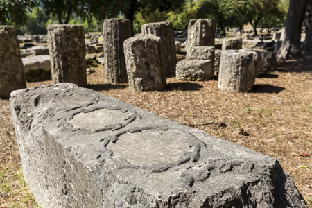 remains: Remains at ancient Olympia archaeological site in Greece