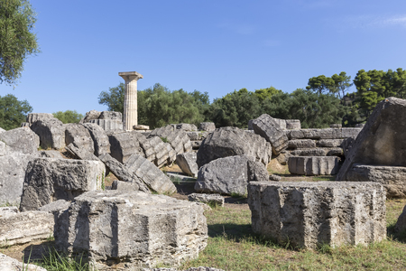 temple: Ancient ruins of the temple Zeus, Olympia archeological site Peloponnese Greece Stock Photo
