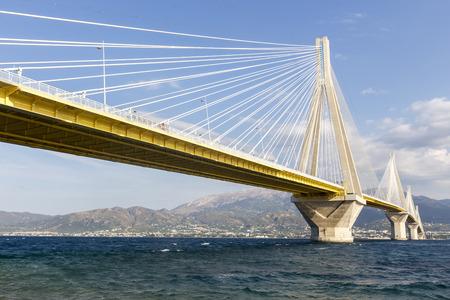 cable bridge: Suspension bridge crossing Corinth Gulf strait, Greece. Is the worlds second longest cable-stayed bridge Stock Photo