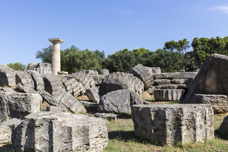 ruins is ancient: Ancient ruins of the temple Zeus, Olympia archeological site Peloponnese Greece Stock Photo